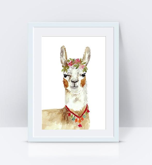Boho Llama Watercolor Print