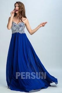 Herz-Ausschnitt-Lang-A-Linie-Bodenlang-Chiffon-Blau-Abendkleid-Persunkleid