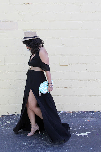 Black Rhythm Cold Shoulder Maxi Dress and Lace Up Heels | Will Bake for Shoes