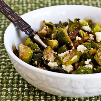 Roasted Brussels Sprouts with Pecans Recipe, with or without Gorgonzola Cheese found on KalynsKitchen.com