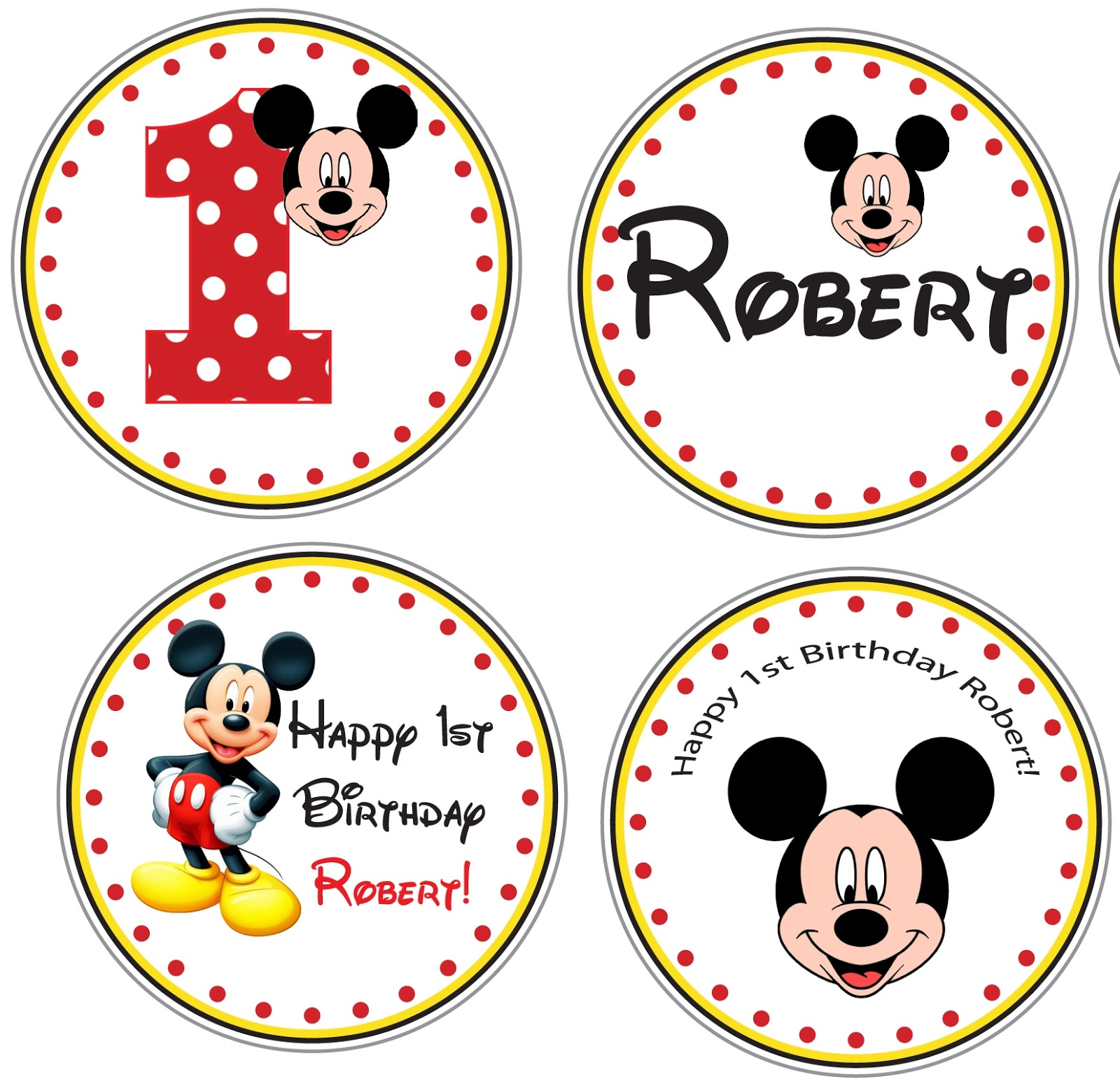 3 Monkeys and More: Mickey Mouse Invite and AccessoriesMickey Mouse Cupcake Toppers