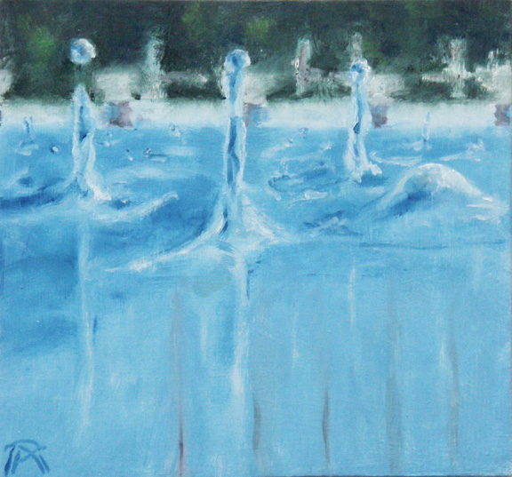 figurative contemporary art, realism, waterdrops, waterscape, blue painting, oil painting