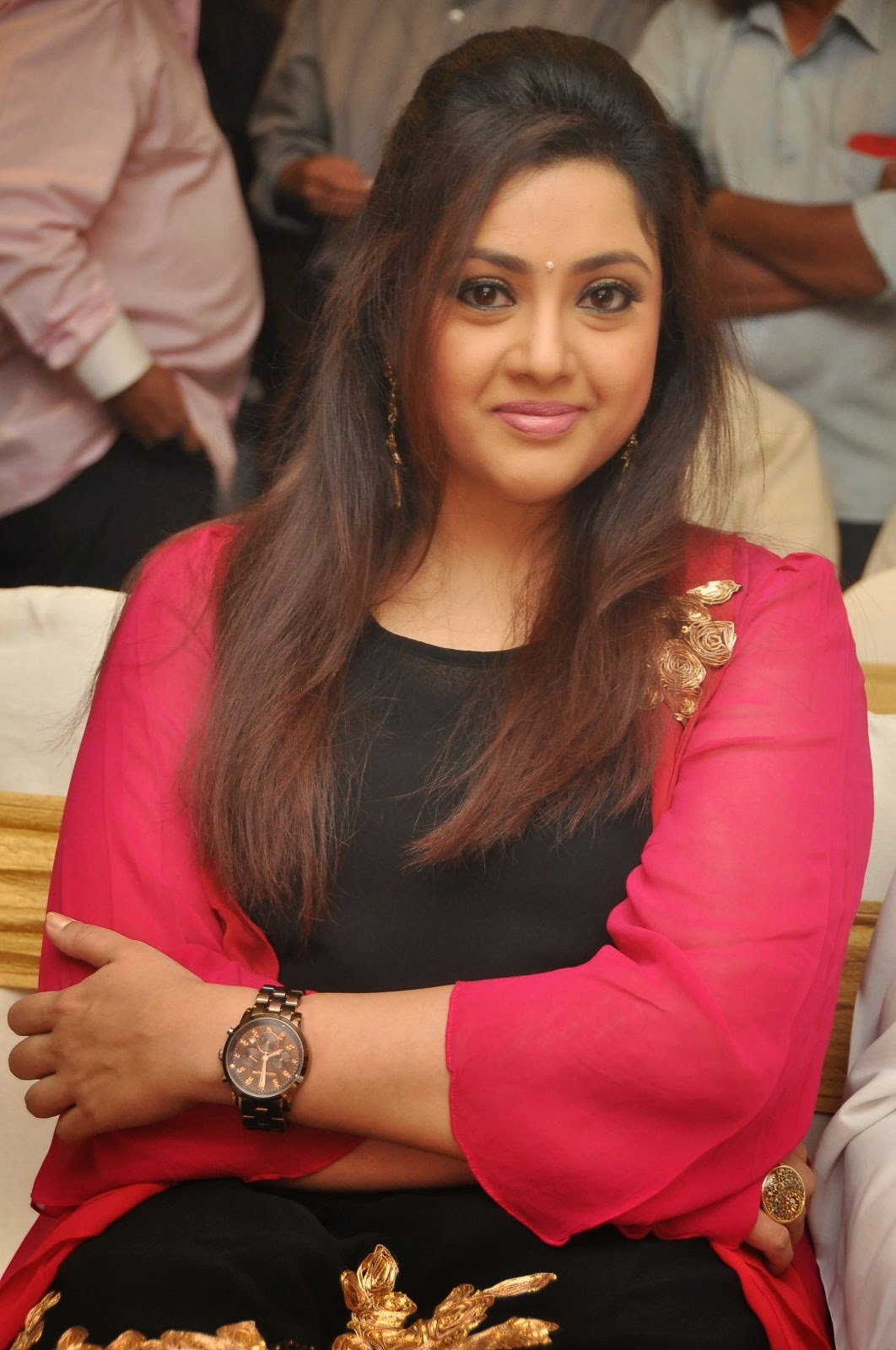 Glamorous Meena Chubby Face Photos In Black Dress