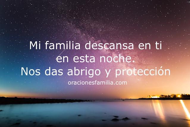 oración de la noche por la familia corto de protección