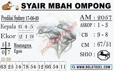 Prediksi Togel Sydney Rabu 17 Juni 2020 - Syair Mbah Ompong