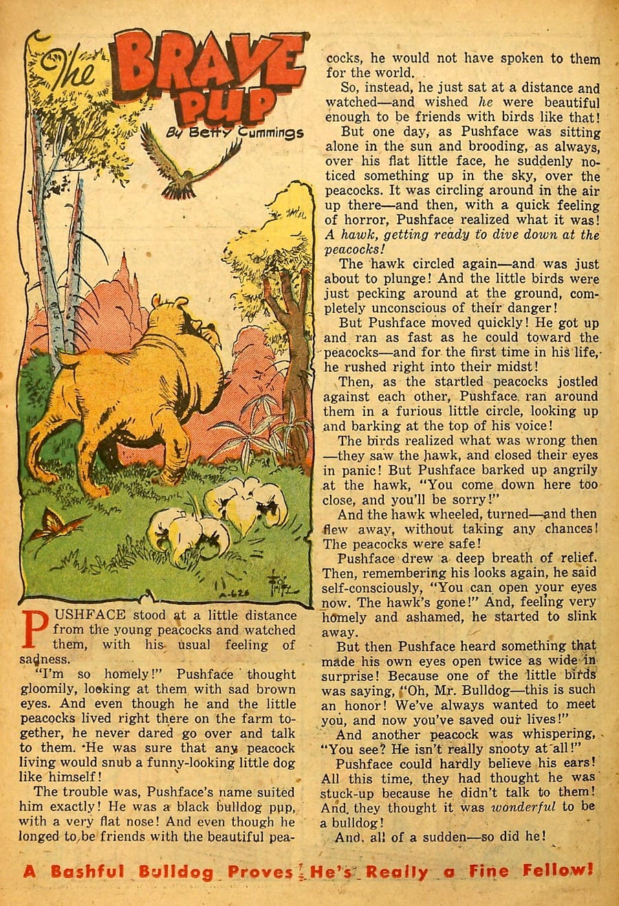 Golden age 1940s funny animal comic book page art by Frank Frazetta - Happy Comics #37