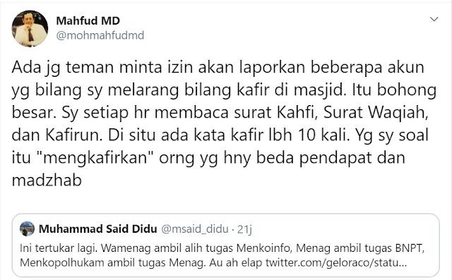 Mahfud MD: Saya Tiap Hari Baca Surat Al-Kafirun
