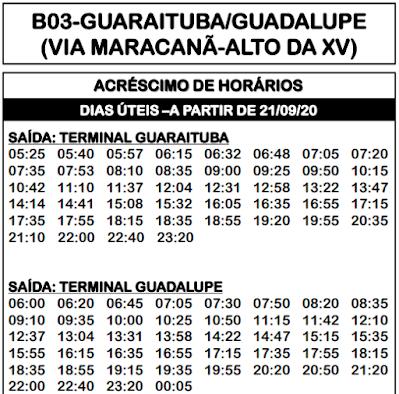 B03 GUARAITUBA/GUADALUPE 2020 | Horário de ônibus  | Colombo PR