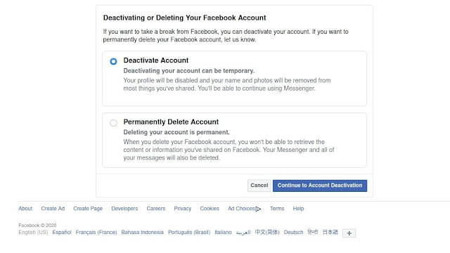 selecciona desactivar cuenta para inhabilitar tu facebook