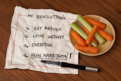 A piece of paper with four New Year's resolutions written on it: 1) eat better 2) lose weight 3) exercise 4) run marathon. There is a plate full of carrots and celery on top of the paper.