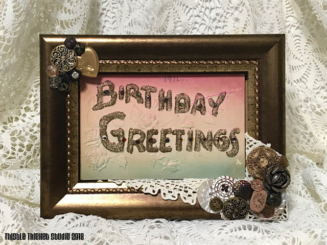Framed & Decorated Vintage Birthday Card Created By Thistle Thicket Studio. www.thistlethicketstudio.com