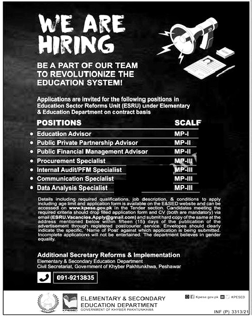 Latest Jobs in Elementary and Secondary  Education Department 2021