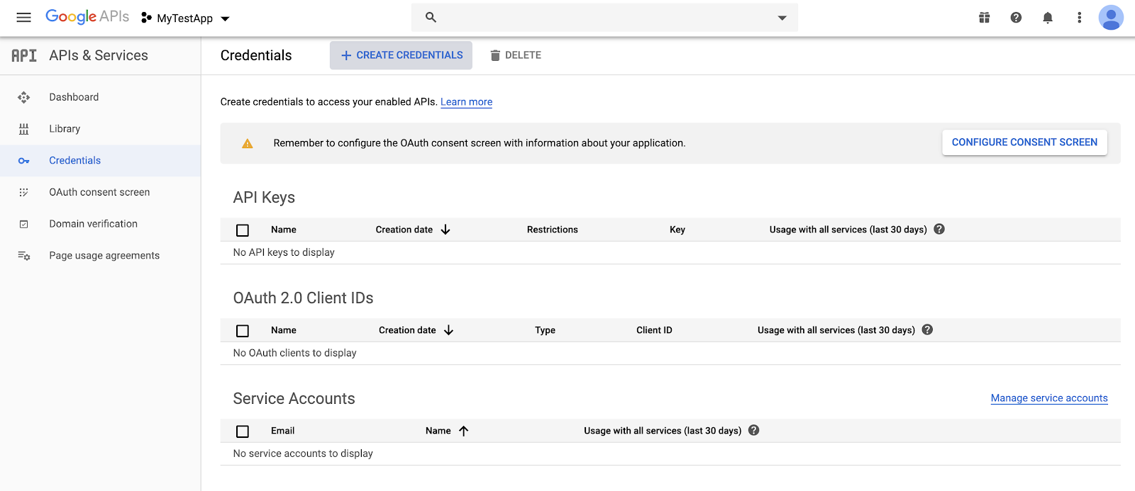 google developer console app dashboard, credentials as selected option
