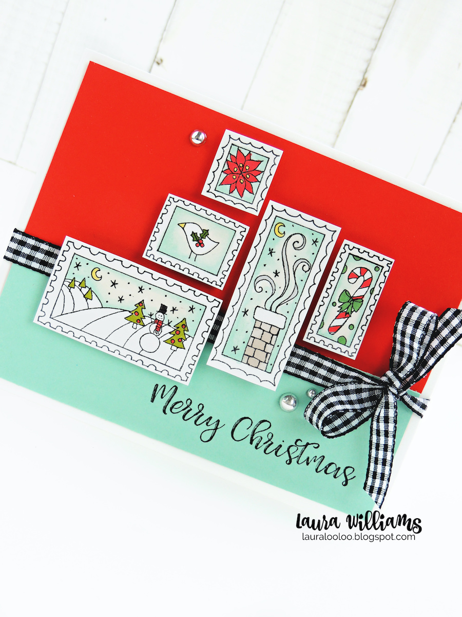 Merry Christmas handmade card with postage stamp themed background stamp called Holiday Stamps from Impression Obsession #lauralooloo #iostamps #christmascards