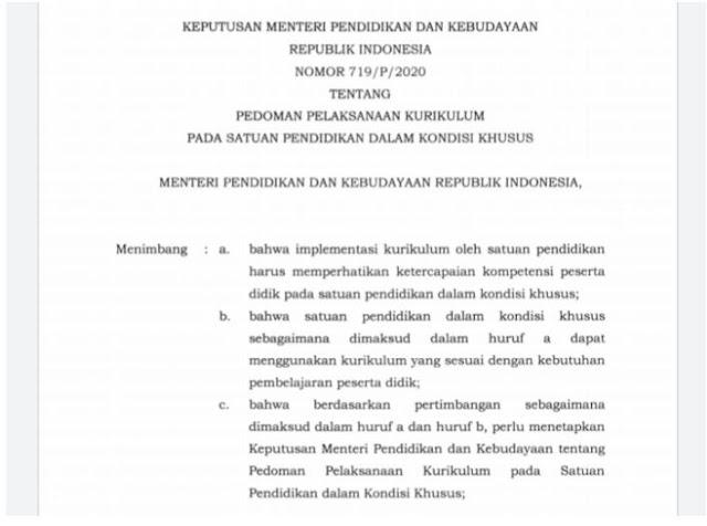 Kemendikbud Terbitkan Kurikulum Darurat pada Satuan Pendidikan dalam Kondisi Khusus