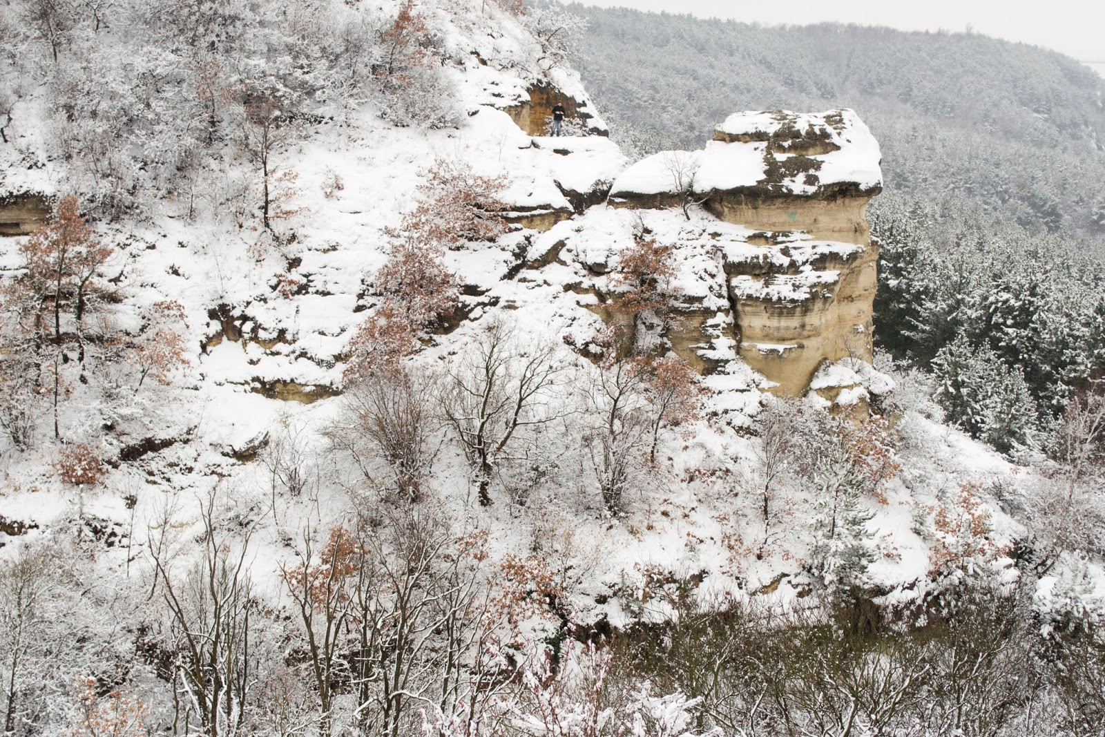 Nyakas-kő térdig hóban