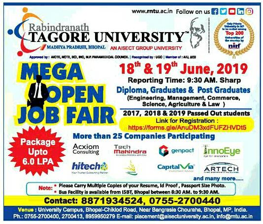 Rabindranath Tagore University (Bhopal) Mega Open Job Fair