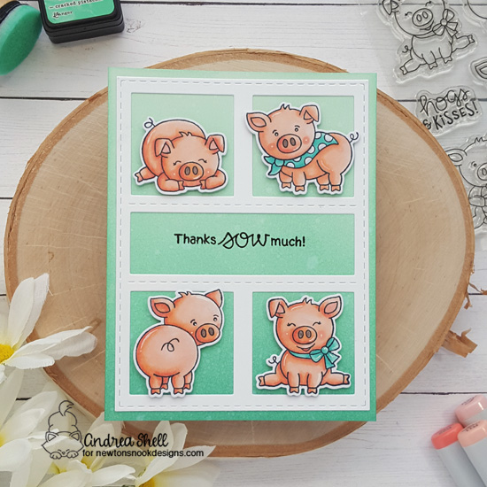 Pig thank you card by Andrea Shell | Oink Stamp Set by Newton's Nook Designs #newtonsnook #handmade