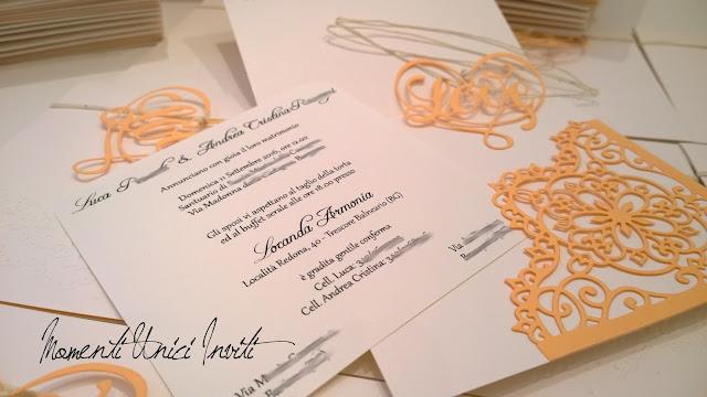 ac1 Le partecipazioni di Luca e Andrea CristinaColore Arancio Colore Bianco Partecipazioni intagliate Partecipazioni Pizzo pizzo Tema cuori