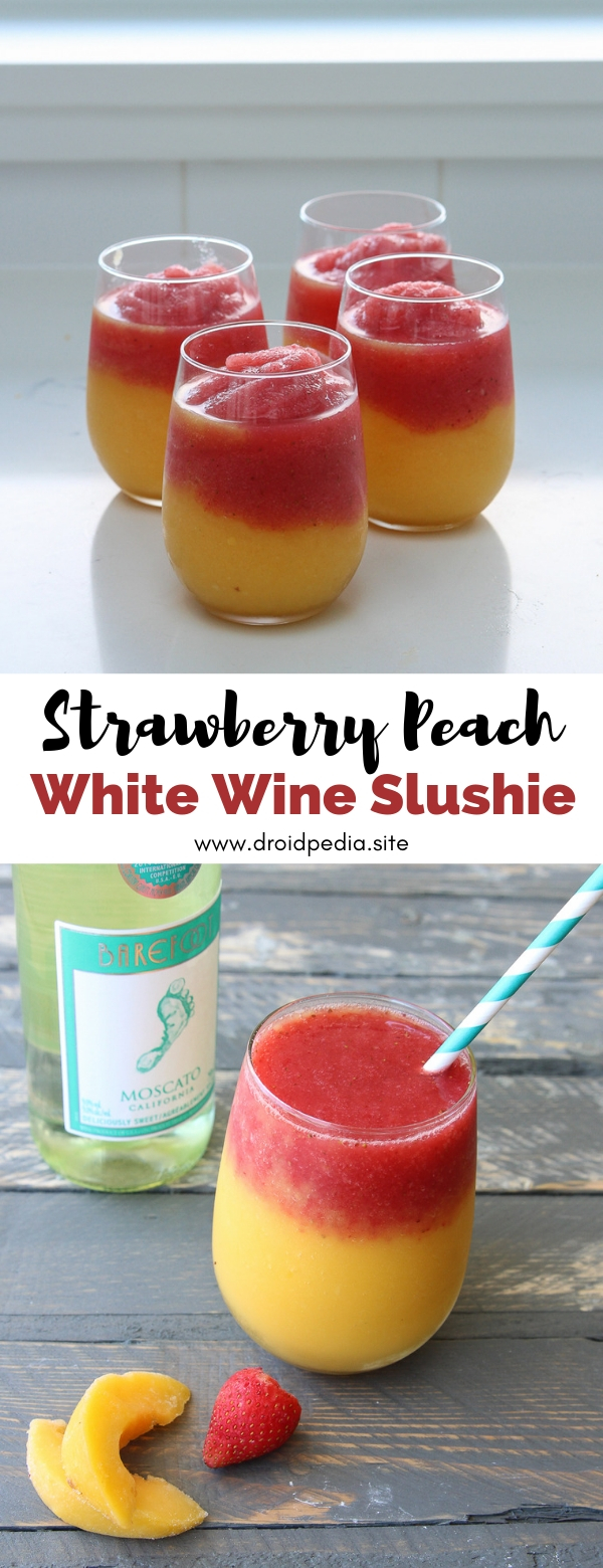 Strawberry Peach White Wine Slushie #strawberry #peach #white #wine #slushie #drink #summer