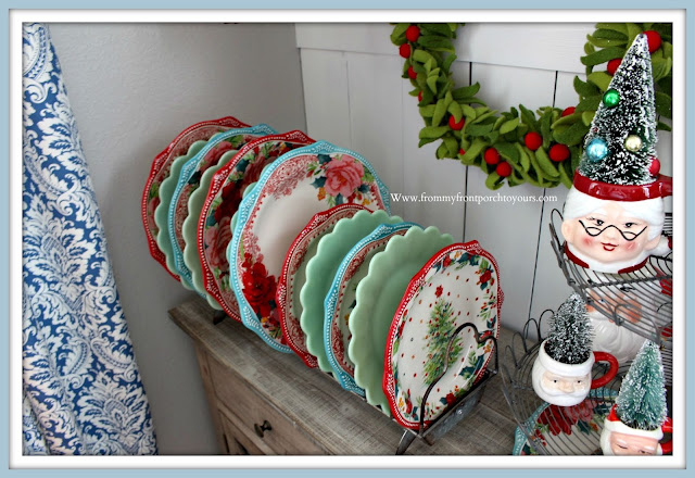 Christmas Farmhouse Cottage Breakfast Nook-Holiday Dinnerware-Pioneer Woman-Jadeite-- From My Front Porch To Yours