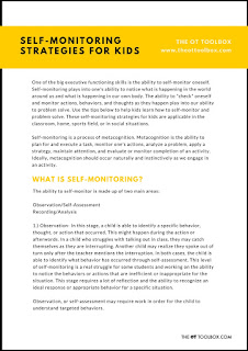 Free self-monitoring strategy guide for kids