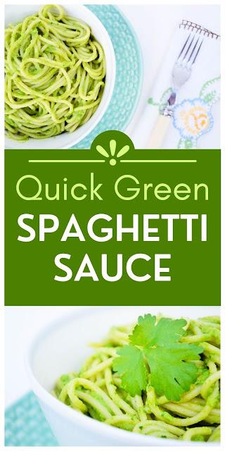 Quick green spaghetti sauce made with avocado & spinach. A super quick vegan pasta sauce.