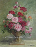 Carnations, oil, 10 x 8 - multicolor carnations in a vase with beige tones