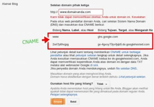 kode cname untuk mengganti domain blogspot menjadi .com