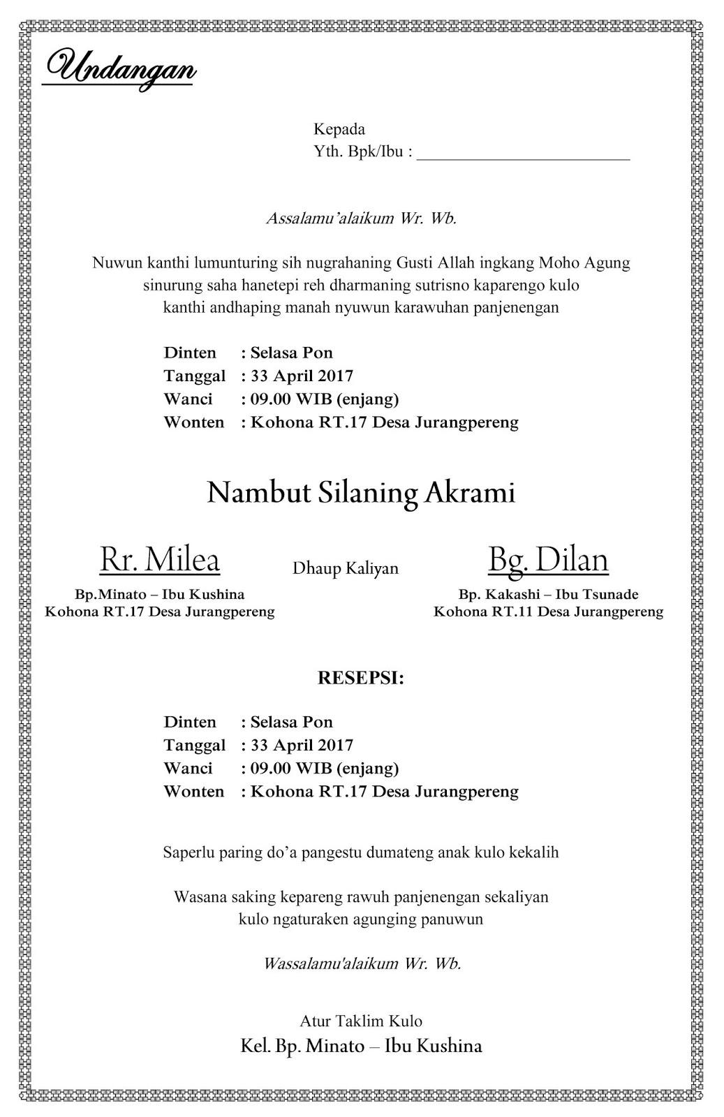 Mulih Ngarit Contoh Undangan Pernikahan Ulem Bahasa Jawa Sederhana