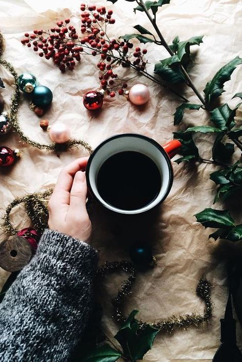 Early morning coffee amidst holiday decorating madness
