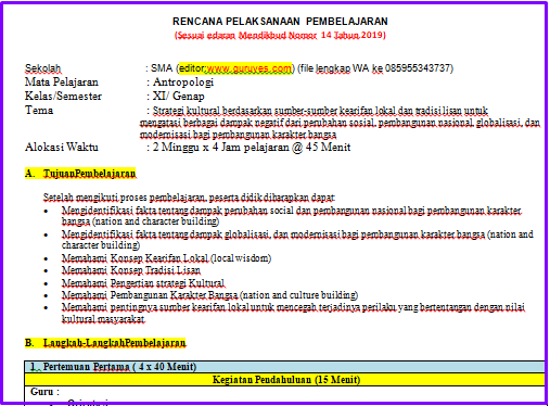 Contoh RPP 1 Lembar ANTROPOLOGI  SMA/SMK Kelas 11 Semester 2