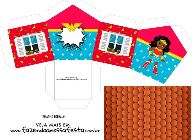 Wonder Woman Afro Free Printable House Shaped Box.