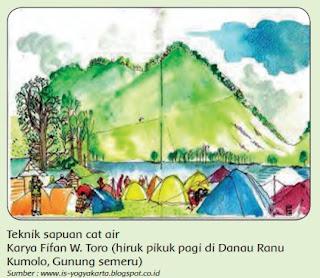 Teknik sapuan cat air Karya Fifan W. Toro (hiruk pikuk pagi di Danau Ranu Kumolo, Gunung semeru) www.simplenews.me