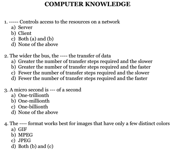 Basic Computers MCQs Multiple Choice Questions and Answers