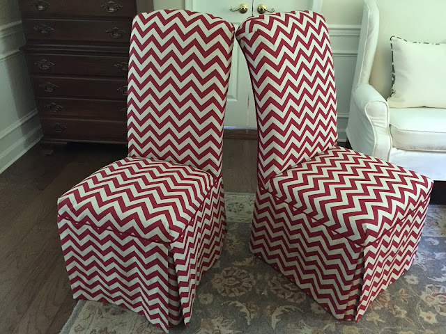 Mismatched Parsons Chairs Become A Pair With Fabric And Design.