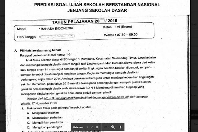 Prediksi Soal USBN SD Tahun 2019 Mapel Bahasa Indonesia