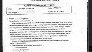 Prediksi Soal USBN SD Bahasa Indonesia Tahun 2019