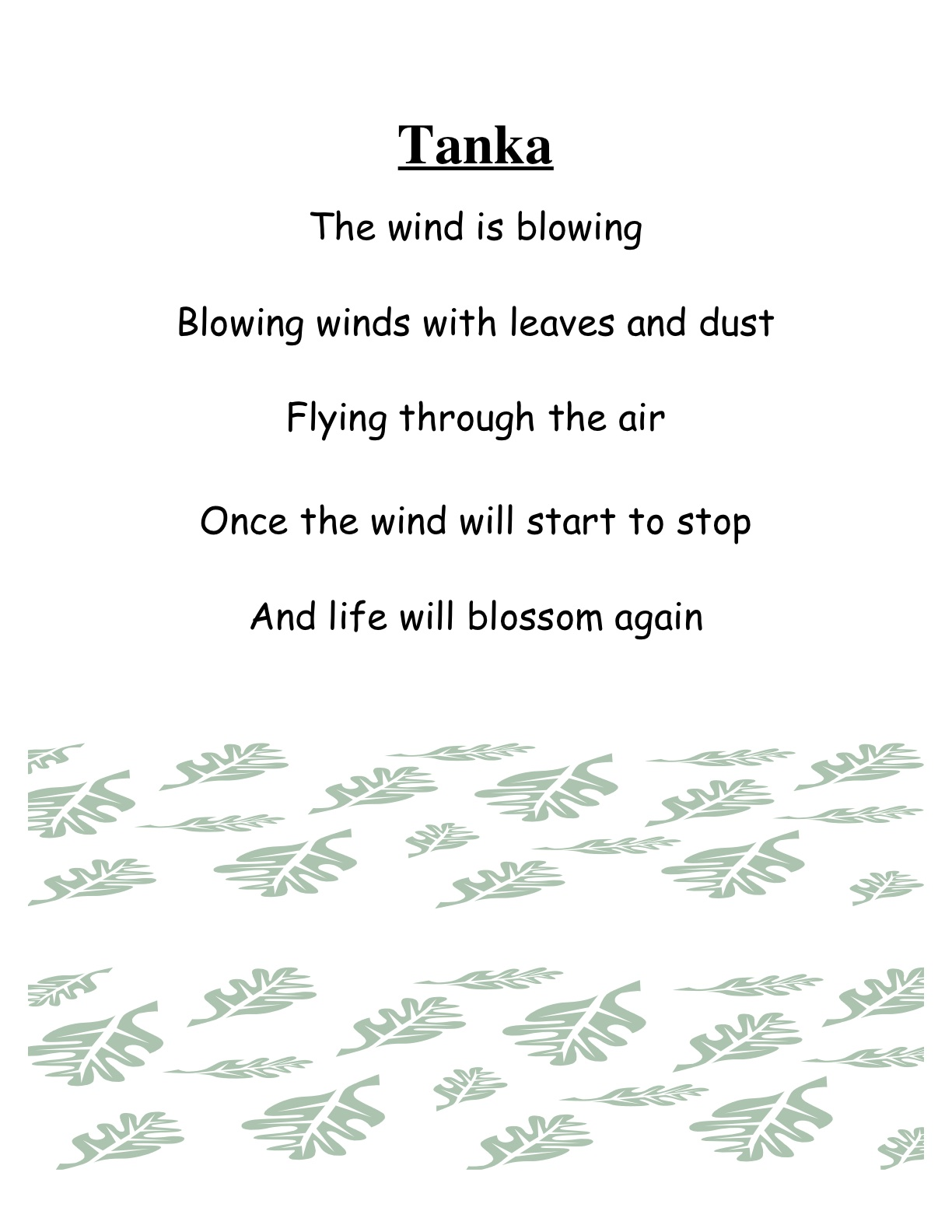 The goodbook for Tanka poem template