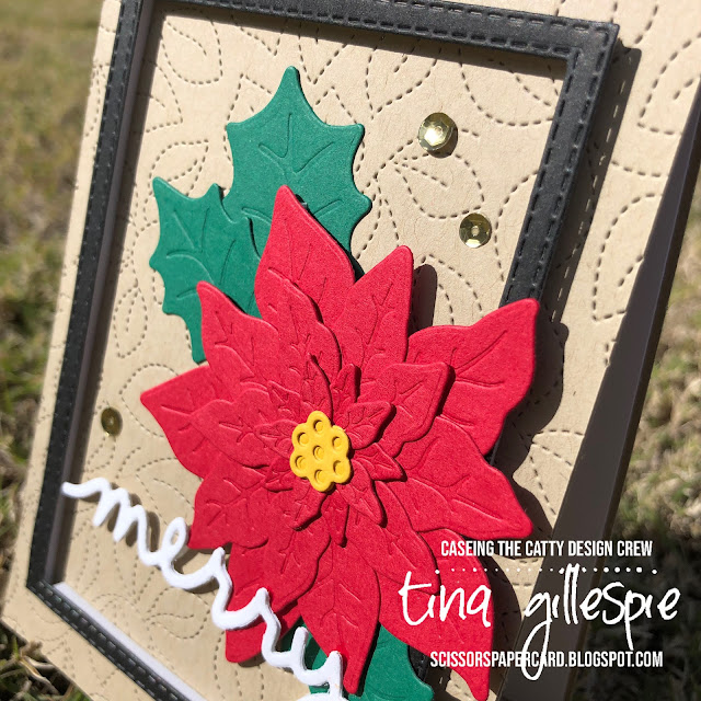 scissorspapercard, Stampin' Up!, CASEing The Catty, Poinsettia Dies, Christmas Greetings Thinlits, Stitched Rectangles Dies, Stitched Greenery Die, Poinsettia Petals, Christmas To Remember