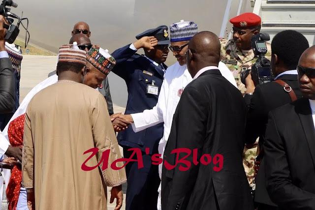 BREAKING!! Buhari Arrives Maiduguri For COAS Conference (Photos)