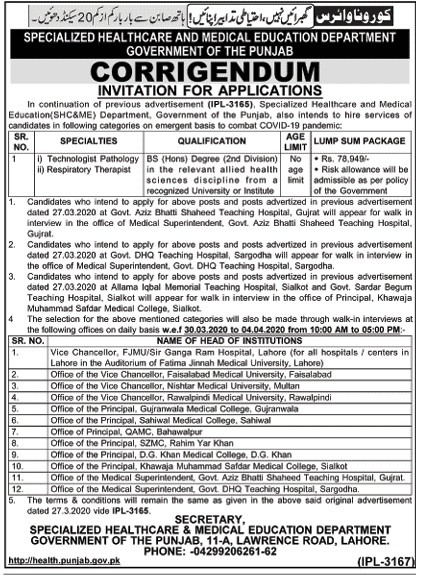 Job Specialized Healthcare and Medical Education Department, Government of Punjab