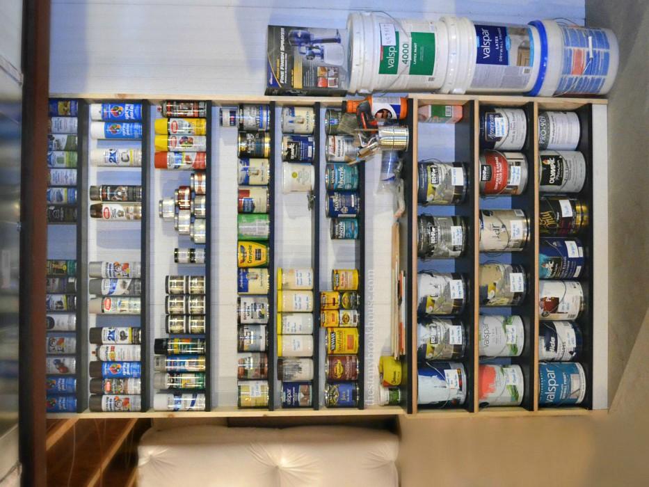 Custom Shelves for Paint Organizing