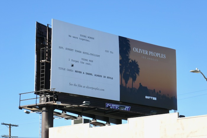 Oliver Peoples film script billboard