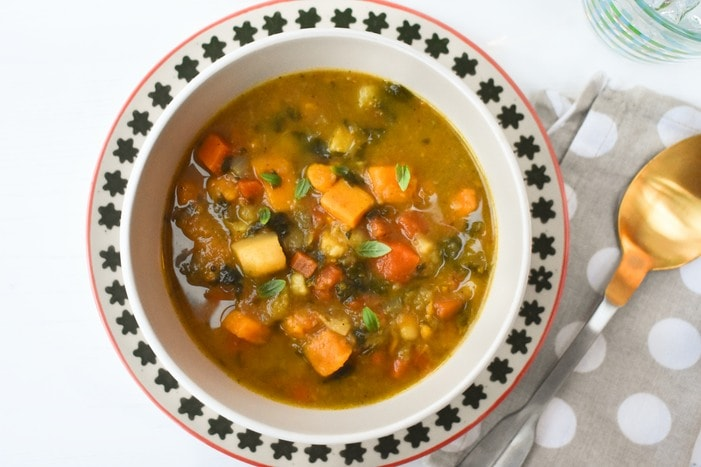 Carrot & Sweet Potato Soup with Spinach