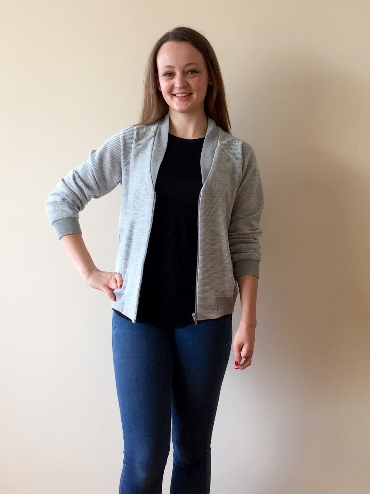Diary of a Chain Stitcher : Grey Ribbed Knit Rigel Bomber