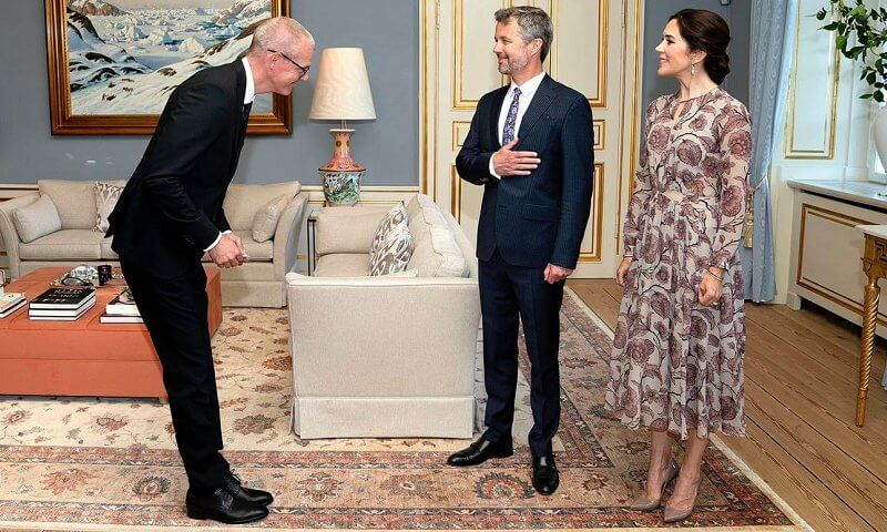 Crown Princess Mary wore a floral silk georgette dress from Burberry Prorsum, and love gold diamond bracelet from Cartier