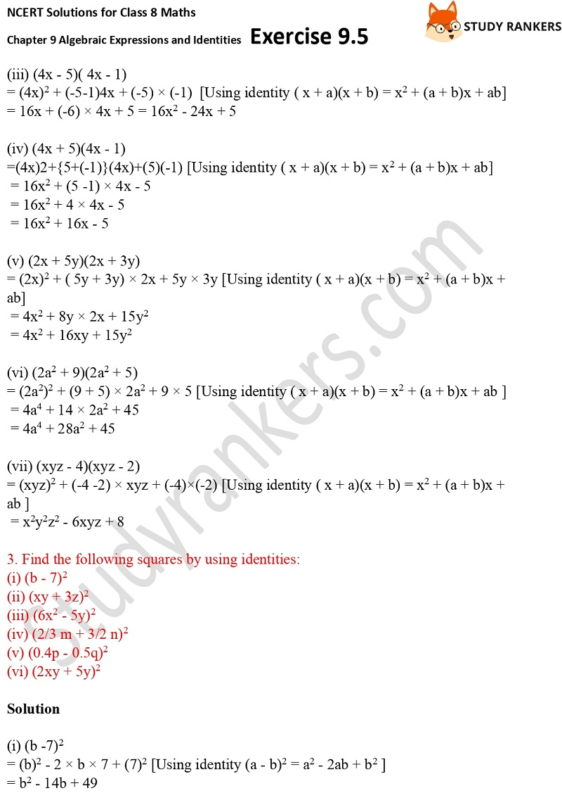 NCERT Solutions for Class 8 Maths Ch 9 Algebraic Expressions and Identities Exercise 9.5 3