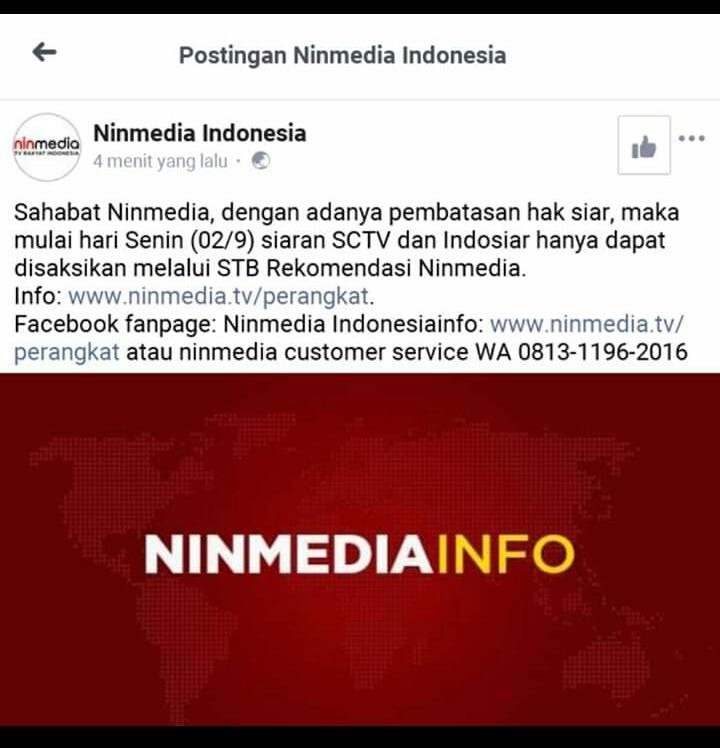 pemberitahuan instagram ninmedia tentang sctv indosiar