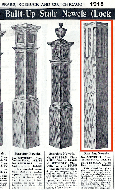 selection of staircase newels from Sears catalog